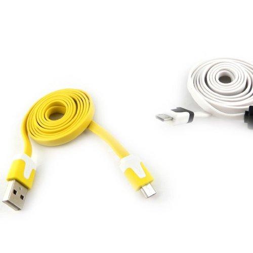 """Les Trésors De Lily [K9281] - 2 cables USB téléphones """"Coloriage"""" jaune blanc (1m)"""