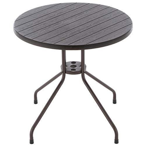 Bistrotisch runder Tisch im Holz Design braun Ø 80 cm Höhe Gartentisch Esstisch Balkontisch Beistelltisch - Platte Kunststoff - Gestell Stahl