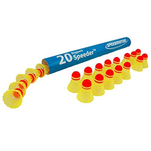 Speedminton Speeder Big Tube Match, 20 Stück, für Erwachsene, Unisex, Gelb, 40