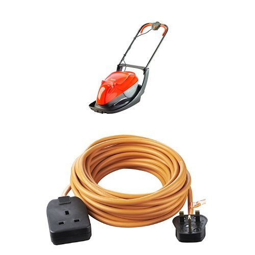 Flymo Easi Glide 300 Electric Hover Collect Lawnmower 1300W (30cm) with Masterplug Outdoor 10m Extension Lead