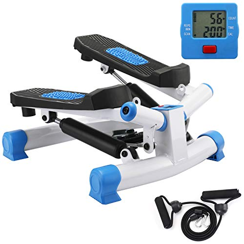 KYY Indoor Fitness Stair Stepper Aerobic Trainer Twist Stair Stepper with Resistance Bands for Beginners and Professionals (Blue)