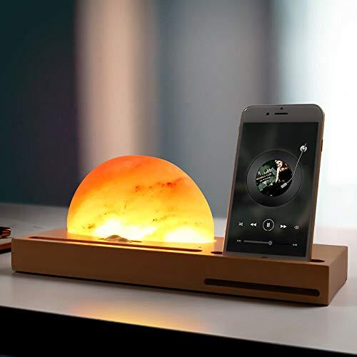 Zonnelamp, nachtlampje, houten sokkel, mineraal zout, draadloos opladen, multifunctioneel cadeau
