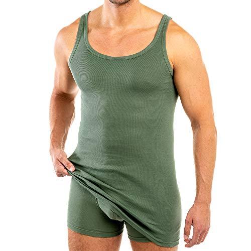 HERMKO 3007 extralanges Herren Unterhemd (+10 cm) Tank Top aus 100% Bio Baumwolle Größe 4-12, Größe:D 5 = EU M, Farbe:Olive