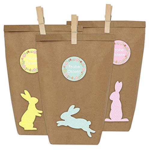Papierdrachen 12 DIY Geschenktüten zu Ostern zum Basteln - Kreatives Osternest mit 12 Papiertüten und Osterhasen Aufklebern - Design 15