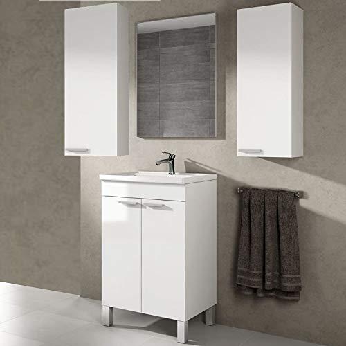 Mueble con Espejo de Baño + Lavabo + Espejo con GRIFERÍA de...