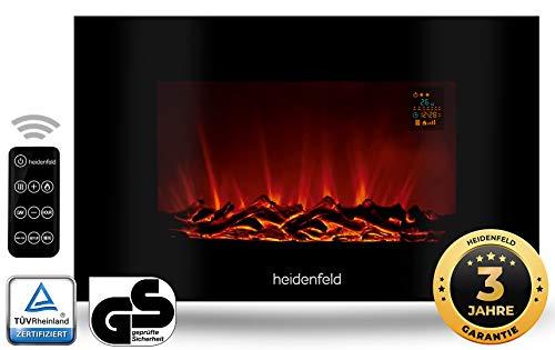 Heidenfeld Wandkamin Elektrisch HF-WK100 mit Fernbedienung - 3 Jahre Garantie - 1000 oder 2000 Watt - Flammensimulation - Heizthermostat - Kaminofen Elektrokamin Kaminfeuer (WK100D Flach Holzoptik)