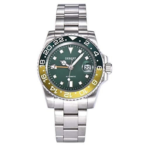 40mm DEBERT Green dial Sapphire Glass Date Luminous Mechanical GMT Automatic Mens Watch