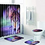 N / A Bad-Teppiche WC Badezimmer Teppich,3D HD Duschvorhang mit Animal-Print & Rutschfester Badematte 3-teilig Home Decoration-B_Large