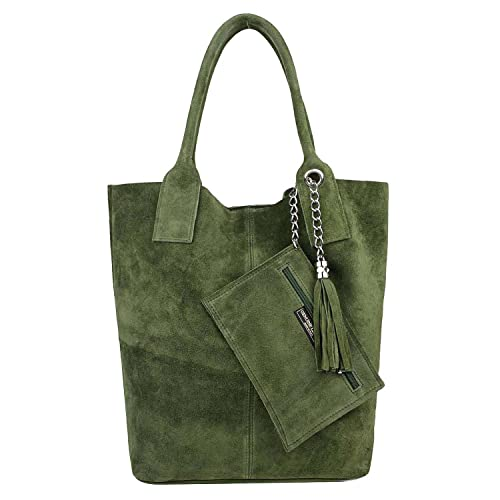 Made IN Italy Damen XXL Leder Tasche + Schmucktasche Handtasche Wildleder Shopper Schultertasche Fransen Umhängetasche Quaste Kette DIN-A4 Hobo Tote Bag Olivgrün