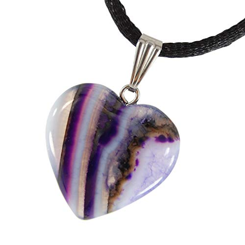 Steampunkers USA Big Heart Collection - 20mm Classic Purple Agate White Clear Stripe - 20-22 inch Black Cord – Crystal Gemstone Carved Necklace Charm Handmade