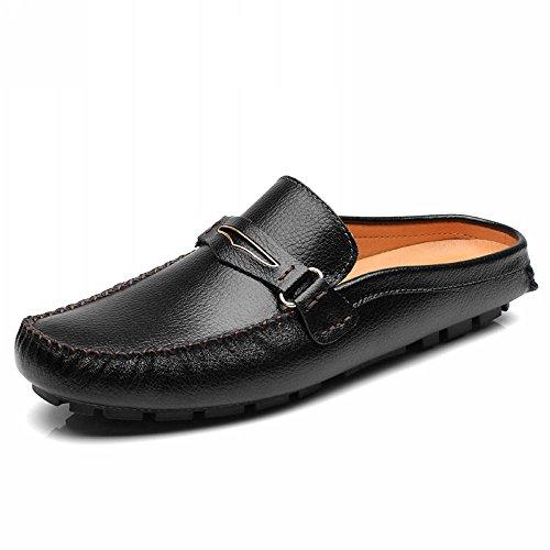 [ゼンシン]ZENSINメンズビジネスサンダル スリッパ 靴 本革スリッポン モカシン シューズ カジュアルドライビングシューズ ビジネスシューズ軽量 (26 5 黒)