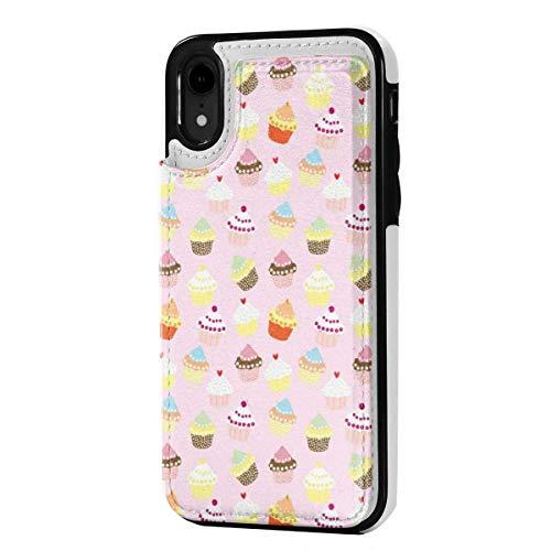 Pelle MoMo iPhone XR Caso rosa Cupcakes carta di credito del supporto della fessura Soft Cover di protezione di chiusura