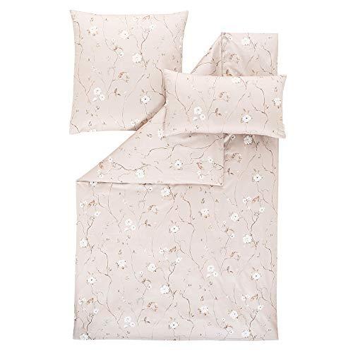 ESTELLA Ropa de cama Soraya | Polvo | 140 x 200 + 70 x 90 + 40 x 80 cm | satén mako con brillo sedoso | apto para secadora | transpirable y suave | 100% algodón