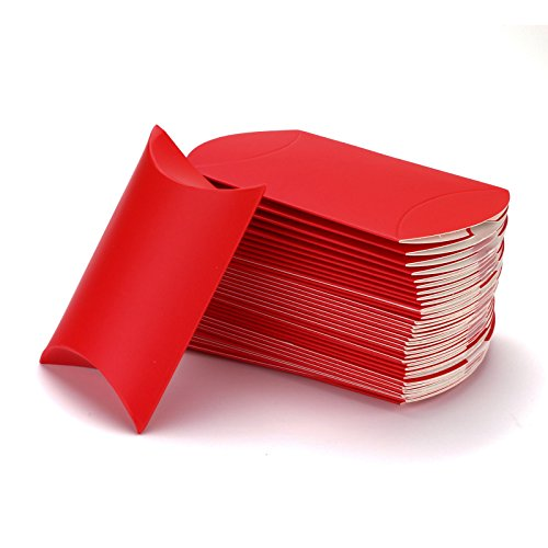 vLoveLife 100pcs Red Kraft Paper Pillow Boxes 4.5'' x 2.8'' Wedding Favor Boxes Candy Box Gift Box Party Favors