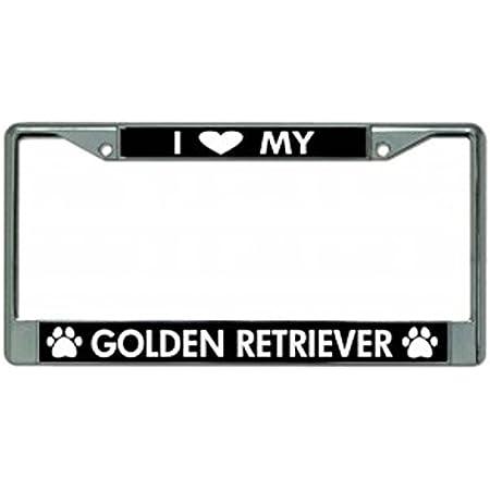 I Love My Golden Retriever Chrome License Plate Frame