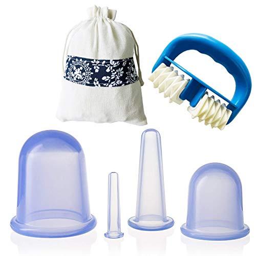 IAMXXYO 5Pcs Anti-Cellulite Cup Set + Massage du Corps Rouleau Silicone Emboutissage Thérapie Visage Emboutissage Vide Coupe pour Drainage Lymphatique Et Soins De Santé,Bleu