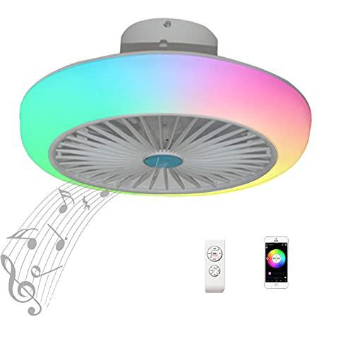 Lampara Ventilador Techo con Luz Silencioso Mando a Distancia Infantil Inspire Colores Plafon LED Ventilador de Techo Iluminación Luces Niños Regulable RGB Altavoz Bluetooth Música Habitacion Blanco