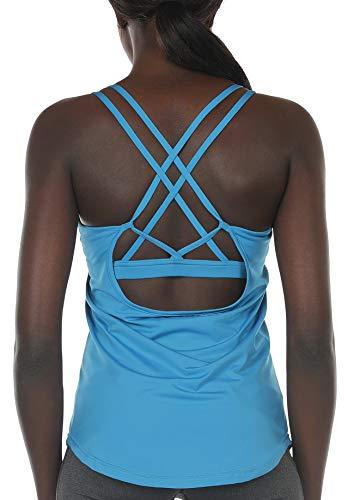 icyzone Damen Sport Yoga Tank Top mit Integriertem BH - 2 in 1 Sport Oberteile Fitness Gym Shirts (XL, Blau)