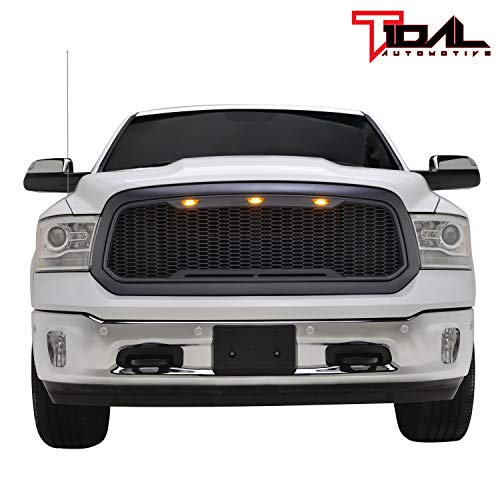 Tidal Replacement Ram Front Grille Upper Grill - Charcoal Gray - With Amber LED Lights for 13-18 Dodge Ram 1500