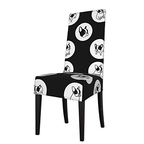 Fundas elásticas Estampadas para sillas de Comedor Bulldog francés Wave Point Spandex extraíble Lavable Fundas Protectoras para sillas