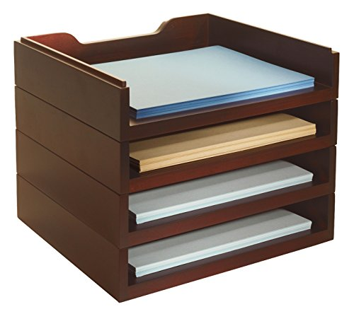 Bindertek Stacking Wood Desk Organizers with 4 Letter Tray Kit, Mahogany (WK6-MA) Desk Tray Stacking Support