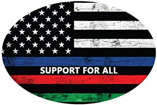 SJT ENTERPRISES, INC. Support for All - USA Flag with Blue, red and Green Colored Stripes- Oval Car Magnets (SJT12702)