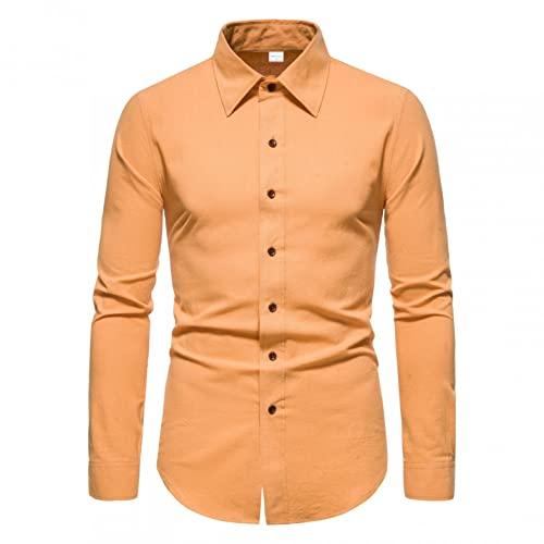 Camicetta Superiore da Uomo a Maniche Lunghe con Bottoni Collo Alto, Stile Militare Casual Camicia in Cotone Risvolto T-Shirt Uomo Maglietta Maglia Maniche Lunghe Moda