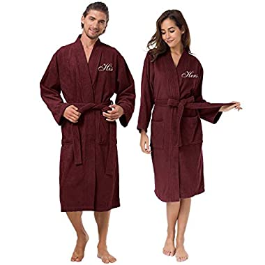 AW Terry Cloth Robes for Men and Women Cotton Kimono Robes Warm Soft Couple Robe Sets, Burgundy Embroidery His and Her Hotel Spa Robes
