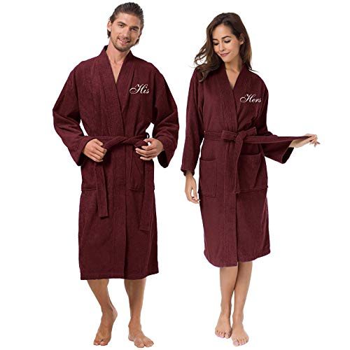 AW Damen CoupleTerry Baumwolle Kimono Robe Spa Bademantel Set Einheitsgröße Bungundy (weiß His/Hers Monogramm)