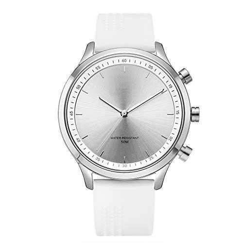 Unisex horloge, analoog quartz horloge, smartwatch Nieuwe mode metalen wijzerplaat Mechanische handen Sos één knop voor hulp bij sporten,White