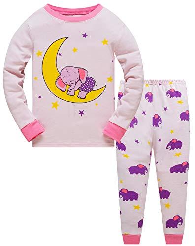 Popshion Mädchen Schlafanzug Elefant 100% Baumwolle Kinder Zweiteiliger Lange Ärmel Pyjama Set Kleinkind Nachtwäsche Pjs Outfits 116