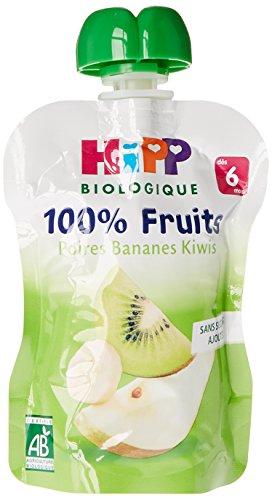 Hipp Biologique Gourdes de Poires Bananes Kiwis - 6 gourdes de 90 g