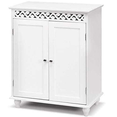 DREAMADE Badezimmerschrank Holz Kommode, Wohnzimmer Schrank Badschrank Beistellschrank mit Tür, Holzschrank Weiß