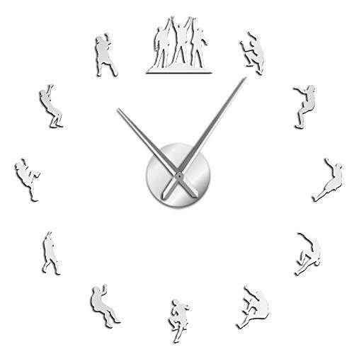 XDG Climbers Relojes de Pared 3D DIY Reloj de Pared Grande sin Marco Decoraciones para Apartamentos Espejo silencioso Pegatinas de Pared Reloj de Pared para Amantes de la Escalada (Plata, 27')