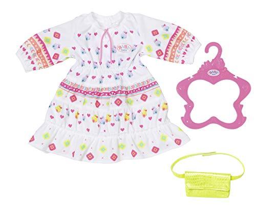 Zapf Creation 830185 BABY born Trendy Boho Kleid 43 cm - weißes Puppenkleid mit buntem Aufdruck im Boho-Look
