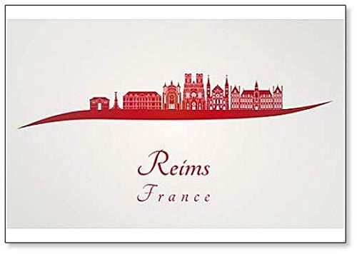 France Reims Skyline Aimant de réfrigérateur classique