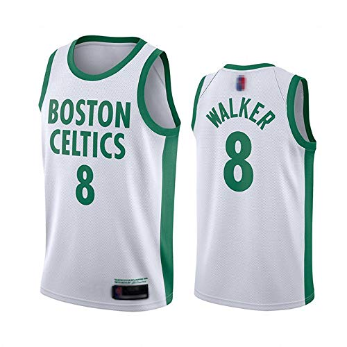 Uniformes De Baloncesto para Hombre, Boston Celtics # 8 Kemba Walker NBA Outdoor Sports Jerseys Fashion Chalecos Casuales Camisetas Sin Mangas,Blanco,XL(180~185CM)