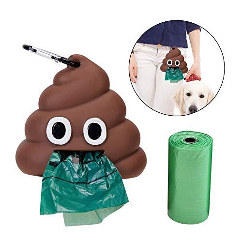 awhao Hundekot-Beutelspender, umweltfreundliche abbaubare Hundekot-Beutel, kreativer KOT-Formspender mit 2 Rollen Hundekotbeutel ersetzen äußere Toilettenabfallsäcke admired