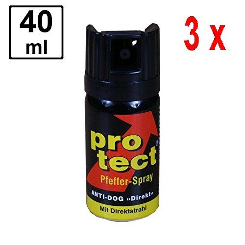 3 x PROTECT Pfefferspray Anti-Dog zur Abwehr von Tieren - 40 ml - Direktstrahl