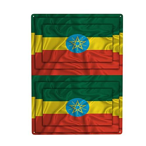 Wandschild mit Äthiopien-Flagge, aus Metall, für Badezimmer, Wohnzimmer, Küche, Outdoor, Büro, Zuhause, Wäsche-Dekoration