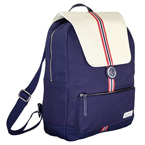 Rucksack Sydney, dunkelblau - beige mit Zierstreifen, wasserabweisender Canvas/groß/Laptop Notebook 15,6 Zoll/DIN A4 Ordner/für Schule, Arbeit, Uni, Reisen