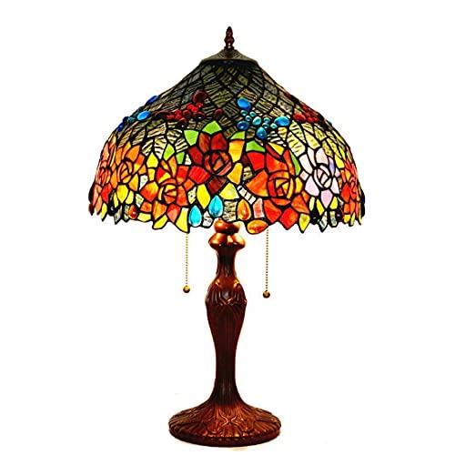 DALUXE Lámpara de luz de Escritorio de Estilo Tiffany de 17 Pulgadas, Luces de Lectura de la habitación de Cristal Rosadas Rosadas de la Mariposa, Sala de Estar