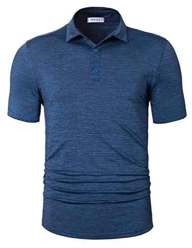TAPULCO Fresca Mens Gym Sports Air Performance T-Shirt Feeder Stripe Pattern Collar Polo Golf Shirt Basic Casual Short Sleeves 3 Button Placket Athletic Shirts Navy Medium 3 Button Polo Collar