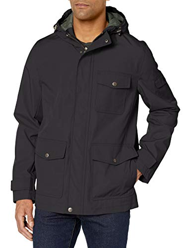 Dockers Men's Thorn Trail Cloth Waterproof Rain Slicker Jacket, Black, Small