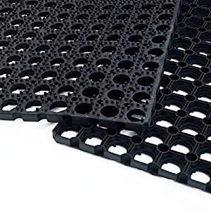 TREND Tappeto in Gomma Antiscivolo a Griglia - Zerbino Ingresso Esterno, Antisporco, Drenante - Spessore 16 mm - 4 Misure - Componibile - Nero (40X60 cm)