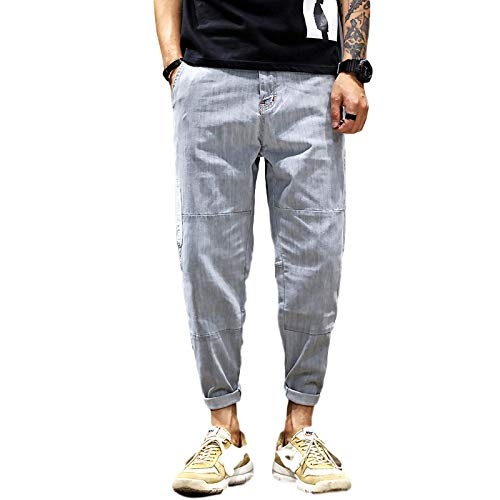 Men's Jeans Spring and Summer Loose Stretch Harem Jeans Retro Hip-hop Casual Wide-Leg Jeans 36