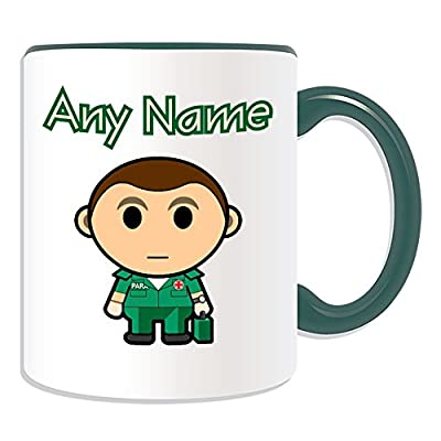 Personalised Gift - Paramedic Brown Hair Mug (Career Design Theme, Colour Options) - Any Name / Message on Your Unique - National NHS Hospital Worker Staff Green Uniform Emergency Service First Aid Medical Kits Red Cross Ambulance Male Occupation by ePort