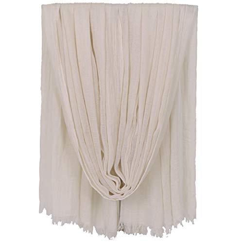KAVINGKALY Muslim Hijab Für Frauen Leichte Baumwolle Kopftuch Einfarbig Large Sheer Schal (Beige)