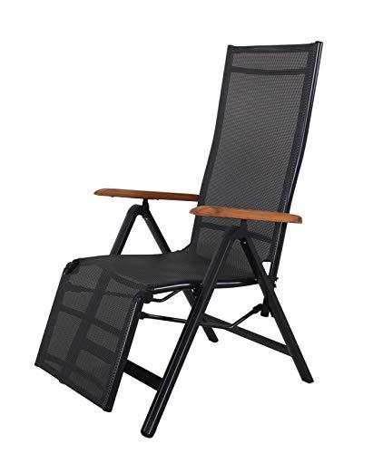 Ambientehome Aluminium Relax-Gartensessel/-Liege Textilene Bezug schwarz, Armlehnen: Akazie