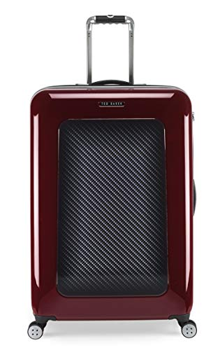 Ted Baker Men's Hardside Spinner Luggage Herringbone Collection (Burgundy Graphite, Checked-Large)